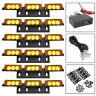 54-LED Amber Yellow Emergency Warning Strobe Lights 6 Bars Deck Dash Grille 12V
