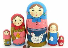 Genuine Russian Matryoshka nesting dolls 5 Traditional Pastel Blue Pink Chicken