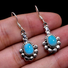 Dominican Republic Larimar 925 Sterling Silver Jewelry Gemstone Dangle Earrings
