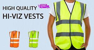 PLAIN NO TEXT Hi-Viz VEST High Visibility Waistcoat Safety Work Team Wear  EN471