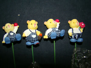 Teddy Bear Floral Picks Sticks Florist Decoration Lot of 11 Unused PVC Plastic