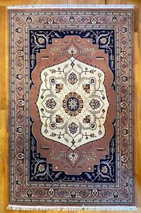 New Top Quality Handmade Tribal Floral Oriental Rug, Dusty Rose & Navy Blue, 6x9