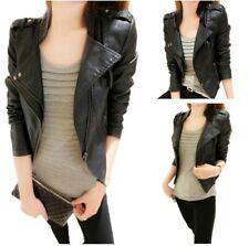 Korean Women Faux Leather Punk Jacket Short Slim Fit Designer Blazer Short 3XL D