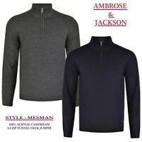 Mens Knitwear Jumper Sweater Acrylic Cashmilon Funnel Neck 1/4 zip Top MESMAN