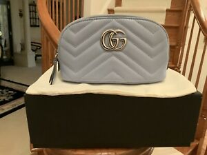 STUNNING 100% AUTHENTIC GG GUCCI MARMONT 2.0 SMALL COSMETIC CASE BAG IN BLUE