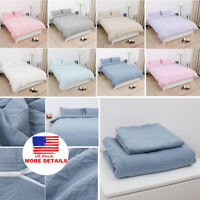 Cotton Duvet Cover Bedding Sets Pillowcases Twin/Double/Queen/King/ & 11 Colors