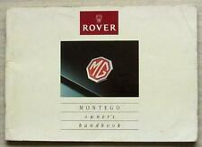 ROVER MG MONTEGO Car Owners Manual Handbook 1990 #AKD 6281 4th Edition