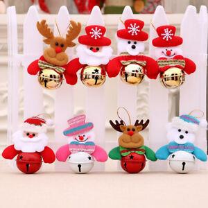 Christmas Doll Bells Rustic Tree Hanging Ornament Xmas Snowmen Home Pendant L3