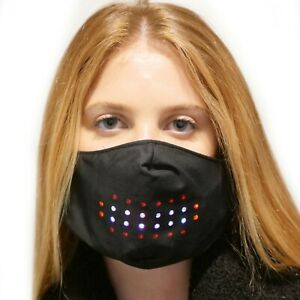 Voice Activated LED Face Mask Imitates Lips Speaking Animation Commands Hallowee
