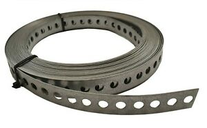 ENGINEERS FIXING BAND STEEL METAL PUNCHED PERFORATED STRIP STRAP 12 20 25mm 40mm
