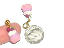 1pc pink Blueberry Cupcake CHARM Miniature dollhouse little bead food Pendant*