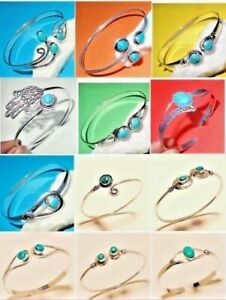Turquoise Stone 925 Silver ( Plated ) Bangle Cuff Bracelet Girls Womens Dec2