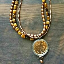 SILPADA Tiger's Eye Bronze Pearl Sterling Silver Necklace N1838 Strand Disk $149