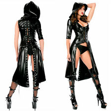 Faux leather BDSM Slave Girl Hooded Dominatrix Stripper Exotic Dancer Lingerie