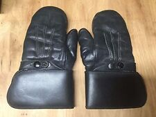 VINTAGE LEATHER SHEARLING LINED MOTORCYCLE GAUNTLET MITTENS/GLOVES -- WOMEN'S