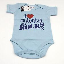 "Dirty Fingers Baby Bodysuit 6-12 mons blue ""I love my Auntie, she rocks"" BNWT"