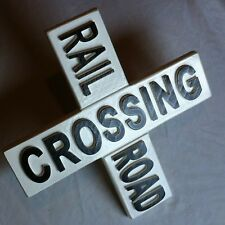 Rail Road Crossing 3D routed carved wood sign plaque New