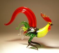 """Blown Glass Figurine """"Murano"""" Art Bird Fighter ROOSTER with Red & Green Tail"""