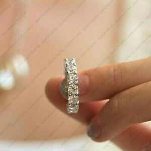 6Ct Round Cut Moissanite Full Eternity Engagement Band Ring 14k White Gold Over