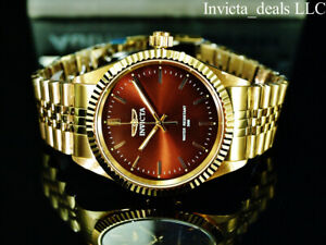 Invicta Mens Specialty JUBILEE Quartz BROWN DIAL Gold Tone Stainless Steel Watch