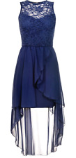Ex QUIZ Navy Lace Dip Hem High Low Sparkly Midi Party Dress 4 6 8 10 12 14 16 18