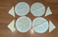 VINTAGE Set 4 HAND EMBROIDERED ROUND YELLOW PLACEMATS w/ Napkins