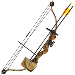 Starter Bow and Arrow Set 17-21lb Camo Compound Bow with Quiver Arrows & Guards