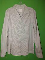 3678) BROOKS BROTHERS 16 black stripe Tailored Non Iron Stretch blouse cotton 16