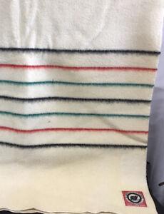 "Rare Vintage Pendleton Wool Stripe Point Blanket Yellowstone Park Label 70""x 88"""