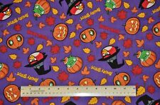 1/2 yard cotton fabric Angry Birds witches pumpkins leaves game movie Halloween