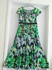 """PER UNA"" GORGEOUS GREEN & GREY CRINKLE MIDI-LENGTH SUMMER DRESS SIZE 14L!!!"