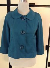 Vertigo Paris Teal Green Blue Mod Swing Coat Jacket Plazer Short Cute! Lined Sm