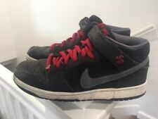 Nike SB Skater shoes Black Gray Red Suede High Top Sneaker Men 10