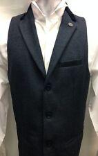 Mens Marc Darcy Designer Tweed Herringbone Waistcoat Vintage Ronny Blue