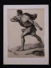 Grand dessin ancien à la Pierre noire : Le Pyrrhus Sauvé Rome antique