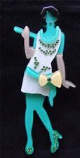 Fièvre de la qualité lucite art déco vert TAMBOUR robe Lady broche pin
