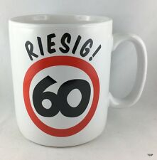"""Riesen-Becher """"Riesig! 60"""" 60.Geburtstag mit Text auf der Rückseite Tasse"""