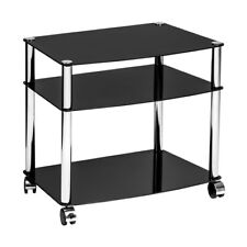 Media Unit 3 Tier Black Glass Chrome Finish Legs Space Saving Storage Organizer