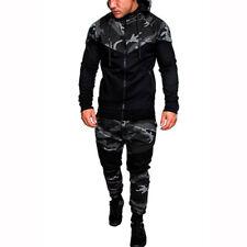 Men's Camo Hoodie Hooded Tracksuit Set Jogger Sports Coat Jacket Pants Trousers