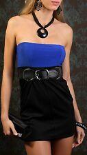 Sexy Miss Femmes Crayon Girly Robe Bandeau Mini Robe Ceinture XS/S Noir Bleu
