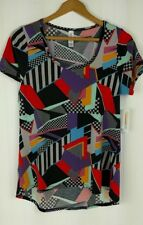 LuLaRoe Classic T Shirt Top Size XS Checkered Race Car Stripes Black Red Gray