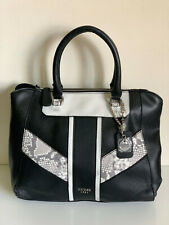 NEW! GUESS APTOS COLLECTION BLACK WHITE SNAKE PRINTED SATCHEL TOTE BAG SALE