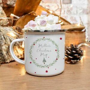 Vintage Tree Tin Camping Mug/Cup Tea Coffee Gift Any Name Xmas Present
