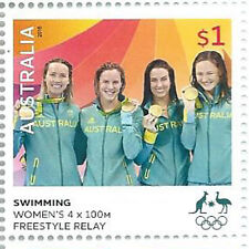 """Australia 2016 $1 Swimming """"Rio Olympic Games' Gold Medal Stamp:Muh"""
