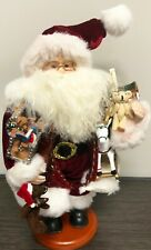 2001 Fabric Santa Claus Figurine Grandeur Noel with Toys On Wood Base 16""