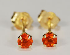 BEENJEWELED -  NATURAL MINED ORANGE FIRE OPAL EARRINGS~14 KT YELLOW GOLD~3MM
