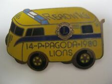 Lions Club Pin Vintage Rare School Bus Reading 14-P-Pagoda 1980