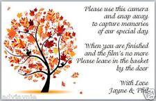 10 X Cámara Desechable Poema Tarjetas hecho a mano para boda-diseño de árbol de otoño