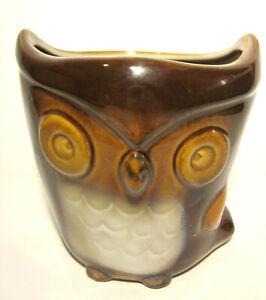 "Ceramic Owl Vase Burton and Burton hand painted 5"" Tall Vintage Rare Collectible"