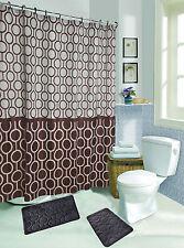 15-Pc Soft Memory Foam Bathroom Mat Set w/ Shower Curtain & Rings - Blue Brown!!